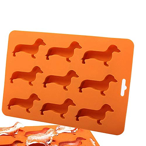Moldfun 2 Pack Dog Creative Silicone Mold Dachshund Puppy Shaped Mold for Chocolate Candy Gummy Ice Cube Jello Jelly Cake Mini Soap Wax Crayon Melt Home Ice Tray Kitchen Tools