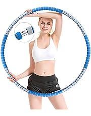 Gindoly Hula Hoop, Fitness Hula Hoop-däck för vuxna för viktminskning, stabil kärna i rostfritt stål med premiumskum, längre liv, vikter justerbar från 1,2 till 3,2 kg