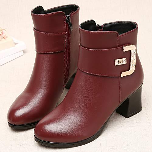 Shukun Bottes Bottes des mères Bottes d'hiver épaissie des Femmes épaisses avec épaissie d'hiver avec des Bottes Martin Chaussures pour Femmes Chaussures en Coton Chaussures d'âge Moyen 38 Red E 9333c2