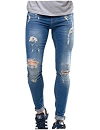 Men's Vintage Street Style Super Skinny Fit Stretch Jeans Knees Rips and Repair