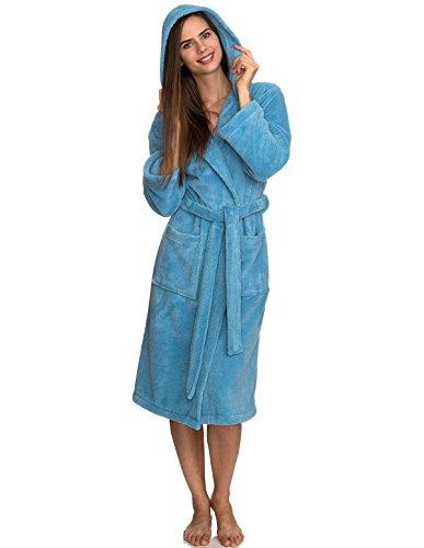 TowelSelections Womens Fleece Hooded Bathrobe