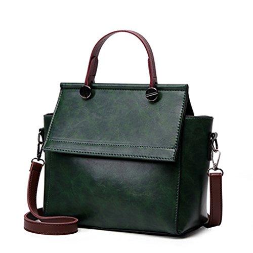 La mujer bolsos de cuero Bolsos de hombro partido señoras bolsas bandoleras hembra verde pu Pu Green