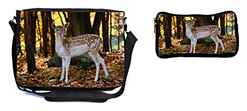 Rikki Knight Bambi Baby Deer Design Multifunction Messenger Bag - School Bag - Laptop Bag - with Padded Insert for School or Work - Includes Pencil Case