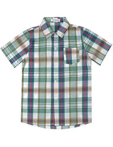 Spring&Gege Boys' Casual Short Sleeve Check Plaid Soft Sport Shirts, Green Red/Multi, 11-12 Years ()