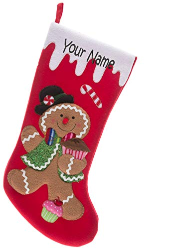 Monogrammed Me Personalized Christmas Stocking, Red Gingerbread -