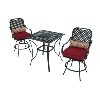 Merveilleux Amazon.com : Hampton Bay Fall River 3 Piece Outdoor Patio High Dining Set  With Dragon Fruit Cushion, Seats 2 : Garden U0026 Outdoor