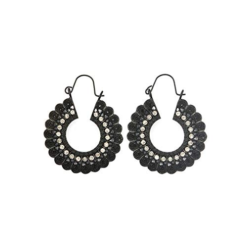 Yunzee Carving Earrings Bohemian Hollow Pendant Ear Studs National Retro Round Pattern Rhinestone Earring Ethnic Ear Hanging,Black