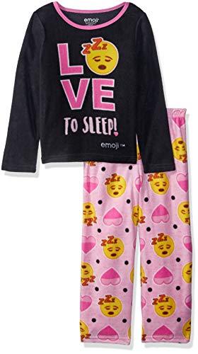 emoji Girls' Little Expressions 2-Piece Fleece Pajama Set, deep Sleep, 6