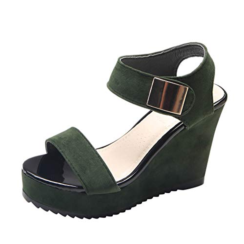 - LUCA Women's Wedges Sandals Summer High Platform Elastic Band Open Toe Slingback Ankle Strap Shoes Green