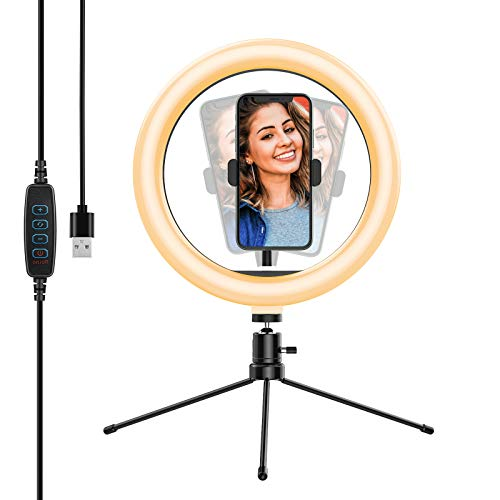10.2'' Selfie Ring Light with Tripod Stand&Phone Holder,Yoozon Dimmable Desktop LED Beauty Camera Ringlight for Live Stream/Makeup/YouTube Video/Vlog/TIK Tok, Compatible with iPhone & Android