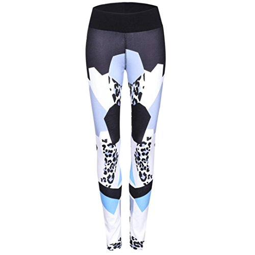 Ecurson Women Geo Print Sports Gym Yoga Workout Mid Waist Running Pants Fitness Elastic Leggings (XL)