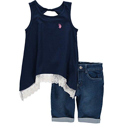 us-polo-association-big-girls-lace-hem-short-set-12-navy