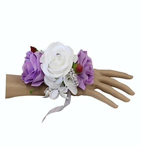(Angel Isabella Wrist Corsage-keepsake artificial roses hydrangea large wrist flower flower prom dance graduation events (Iris Lavender)