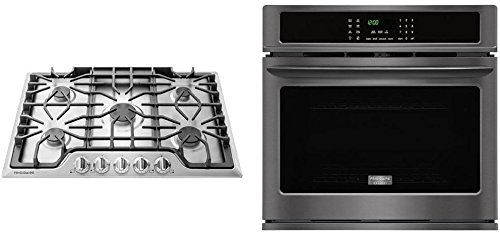 Frigidaire Gallery 2-Piece Black Stainless Steel Kitchen Package wtih FGEW3065PD 30″ Single Wall Oven and FGGC3047QS 30″ Gas Cooktop