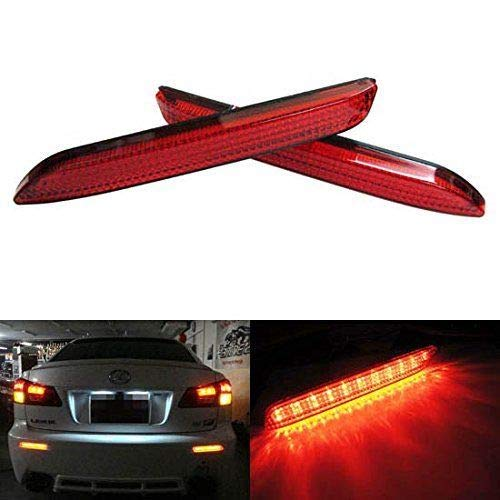 iJDMTOY Red Lens 21-SMD LED Bumper Reflector Lights for Lexus RC250 RC350 is-F GX470 Toyota Sienna Matrix Venza Avalon, Function as Tail & Brake Lamps
