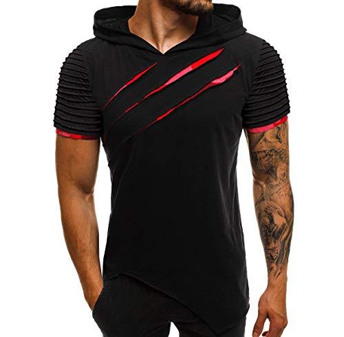 Men's Fashion Short Sleeve Hoodies Beast Scratch Zipper Slim Fit T-Shirts Hip Hop Irregular Summer Tops (L, A Black Red)