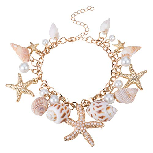 WUSUANED Sea Shell Starfish Faux Pearl Chain Bracelet Ocean Beach Conch Jewelry Gift for Women Girls (Shell Chain Bracelet) - Ocean Pearl Bracelets