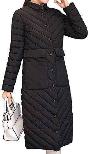 De Blackmyth Invierno Negro Casual Mujer Delgada Larga Outwear Engrosado Chaqueta Algodón Manga qYYUTrtn