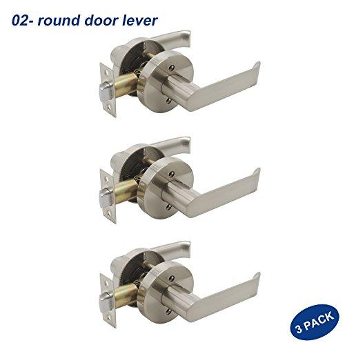 Knobonly 02 Style Round Shape Rosette Heavy Duty Door Handleset Brushed Nickel Passage Door Lever Closet Hall Non-Locking Door Leverset 3 Pack