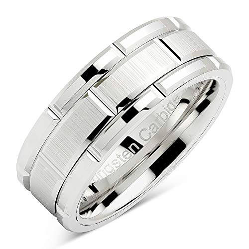 100S JEWELRY Tungsten Rings for Men Wedding Band White Gold Brick Pattern Rhodium Plated Sizes 8-16 (13)