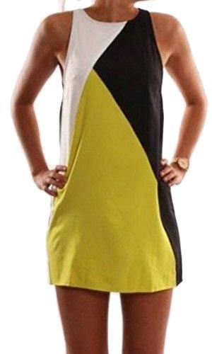 Contraste Couleur Cou Cruiize Femmes Équipe Impression Robes Sexy Noir Sundress