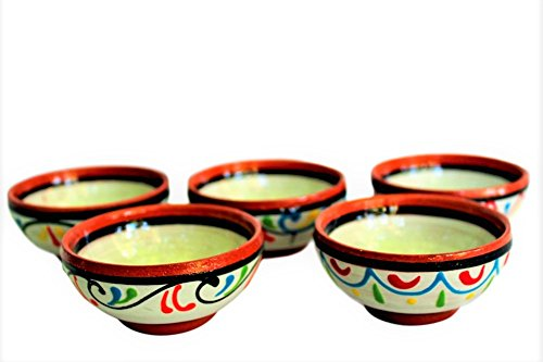 Cactus Canyon Ceramics Terracotta White, Super Mini-bowl Set of 5 - Hand Painted From Spain (Hand Ceramic Painted Small)