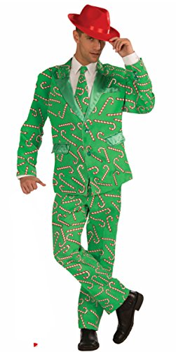 Forum Novelties Men's Candy Cane Costume Suit, Green/Red,