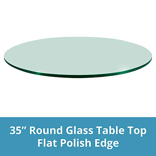 TroySys Glass Table Top, Flat Polish Edge, Tempered Glass, 35'' L Round by TroySys