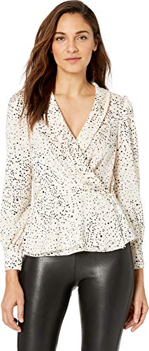 cupcakes and cashmere Women's Diego Printed Reverse Crepon wrap Blouse, Ivory, ()