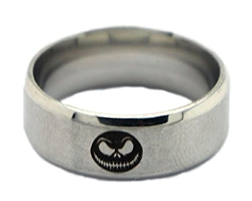 New Horizons Production Nightmare Before Christmas Logo Stainless Steel Cosplay Metal Ring - Multiple Sizes (Jack And Sally Rings)