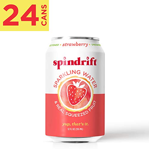 Spindrift Sparkling Water, Strawberry Flavored, Made with Real Squeezed Fruit, 12 Fluid Ounce Cans, Pack of 24 (Only 9 Calories per Seltzer Water Can)
