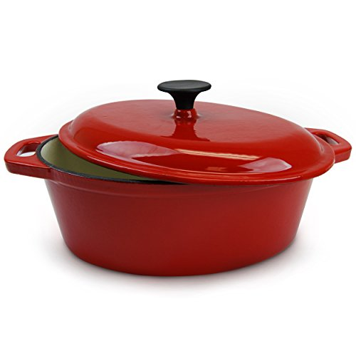 Huswell Enameled Cast Iron Oval Dutch Oven, Casserole Dish, 5 Quart, Red 4 Quart Oval Roaster