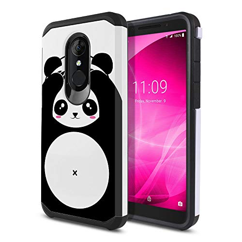 FINCIBO Case Compatible with Alcatel 3 5052 Onyx/T-Mobile Revvl 2 5.5 inch, Dual Layer Hard Back Hybrid Protector Case Cover Anti Shock TPU for Alcatel 3 5052 - Panda Bear Black White Style