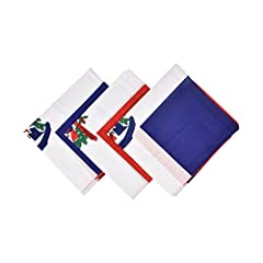 This is a set of 3 cotton bandanas with fun prints of Carribean Countries Flags and Souveniers. These Bandanas can be used as hair covering, headband and necktie. It measures approximately 22 inches by 22 inches.