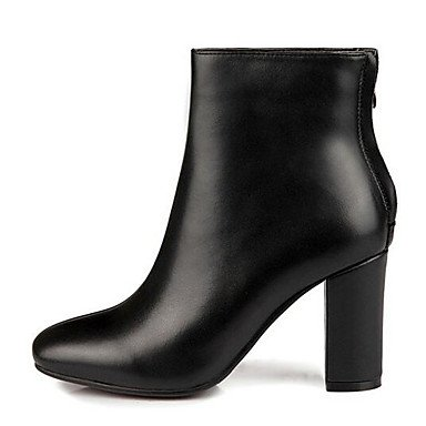 Winter Shoes Heel Leather Black Chunky Fall CN35 5 Boots Fashion Women'S Cowhide EU36 UK3 For RTRY Comfort Casual Nappa Boots US5 5 5IwY7nq