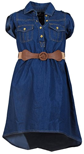 dollhouse Girls\' Breast Pocket Belted Denim Peasant Dress, Size 14/16, Dark'