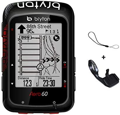 Bryton Aero 60E GPS Bike Computer 2.3 Display, 60E – Base Model with Metal Aero Mount . with pre-Load OSM map, Follow Track .Support Power Meter, ESS.