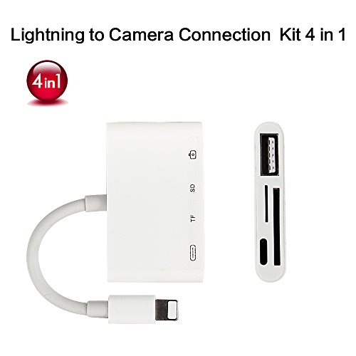 Lightning to SD/TF Card Reader, 4 in 1 Lightning to USB Camera Adapter, Multifuction Charging and Data Sync adapter for iPhone & iPad, Plug and Play from U-LINK