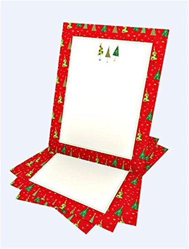 Stationery 100 Ct - Whimsy Red Border Tree Stationery - 100CT