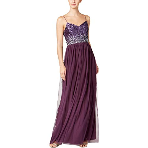 Adrianna Papell Womens Sequined Party Evening Dress Purple 2