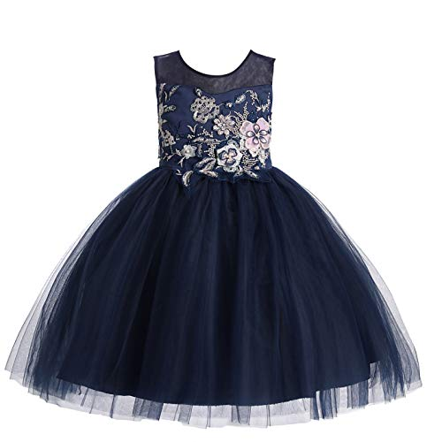 Weileenice 2-14T Flower Girls Princess Dress Bridesmaid Tutu Tulle 3D Embroidery Beading Birthday Pageant Party Dresses (3-4 Years, Navy Blue)]()