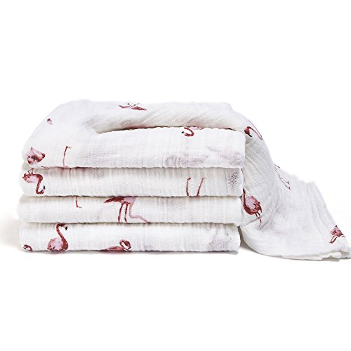 XPEOO Soft Baby Bath Towels 4 Layers 2 pack Natural Organic Wash Muslin Swaddle blanket for Newborns (pink) by Xpeoo