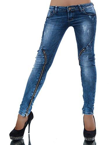 L558 Damen Jeans Hose Hüfthose Damenjeans Hüftjeans Röhrenjeans Röhrenhose Röhre, Farben:Blau;Größen:40 (L)
