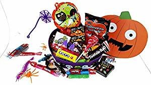 Tricks and Treats ~ Fun Pumpkin Shaped Halloween Gift Boxes ~ Filled with Fun Favors and Assorted Treats (16 oz) (Gift Treats)