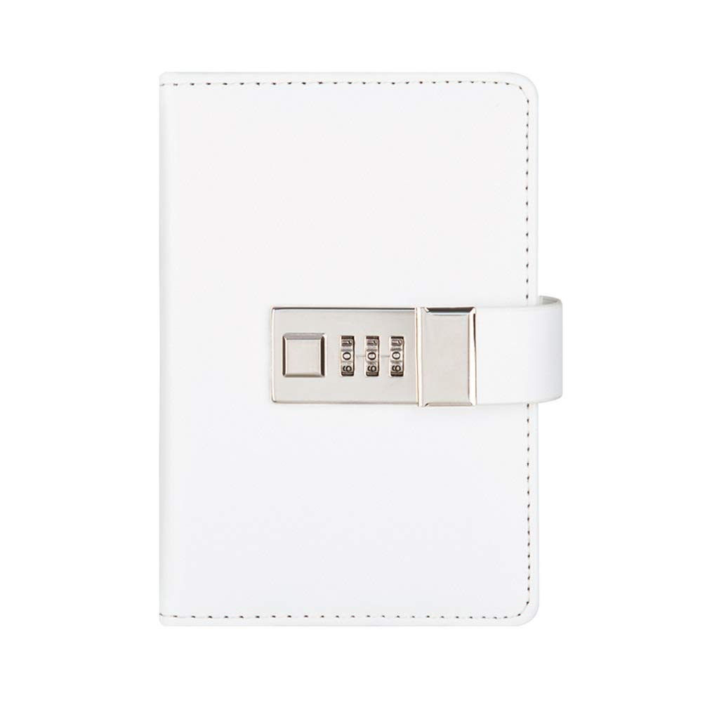 FS Diary with Lock,Travel Agenda with Combination Lock,Protect Your Secrets,Can Be Used by People Over 3 Years Old (Color : White)