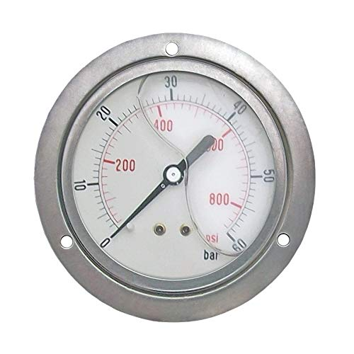 - 2 1/2' Glycerine Filled Pressure Gauge 0-870psi Panel Mount 1/4' BSP