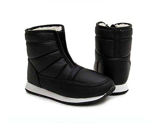 Unisex par botas de nieve impermeables botas de felpa cálida antideslizante botas de algodón ligeras ronda dedo del pie cremallera al aire libre alto botín Snekers Eu tamaño 34-46 ( Color : Black , Size : 45 ) Black