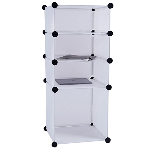 4 Tier Storage Rack Cube Style Locker White