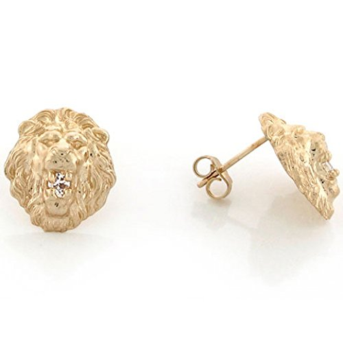 Pin Head Lion (10k Yellow Gold 1.2cm Lion Head with Round CZ Pin Earrings)