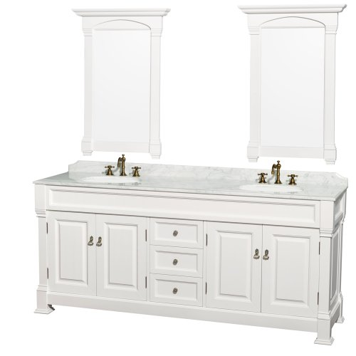 Wyndham Collection Andover 80 inch Double Bathroom Vanity in White with White Carrera Marble Top with White Undermount Round Sinks and 28 inch Mirrors (Carved Double Sink Vanity)